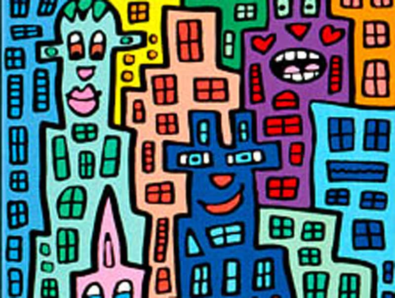 James Rizzi - Living on a rainbow road **LETZTES EXEMPLAR**